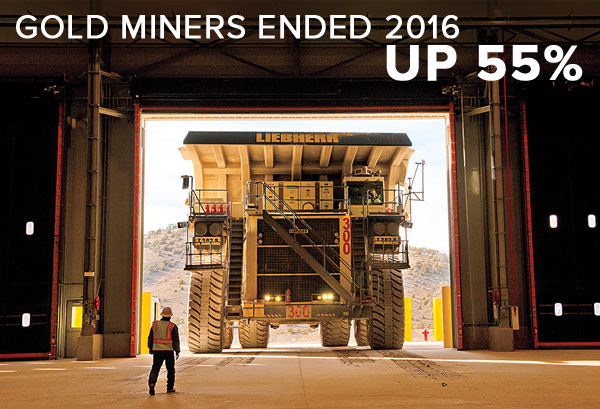 Gold miners ended 2016 up 55%