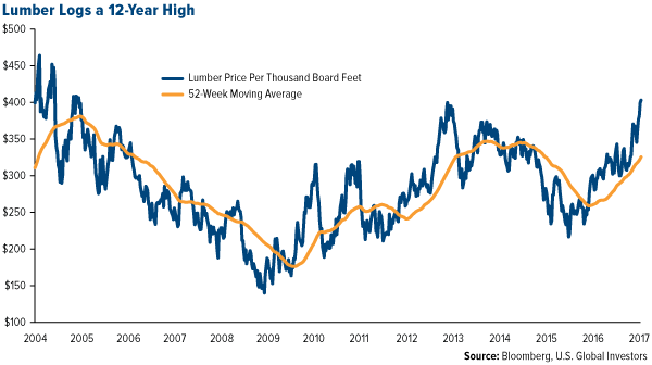 lumber logs a 12 year high