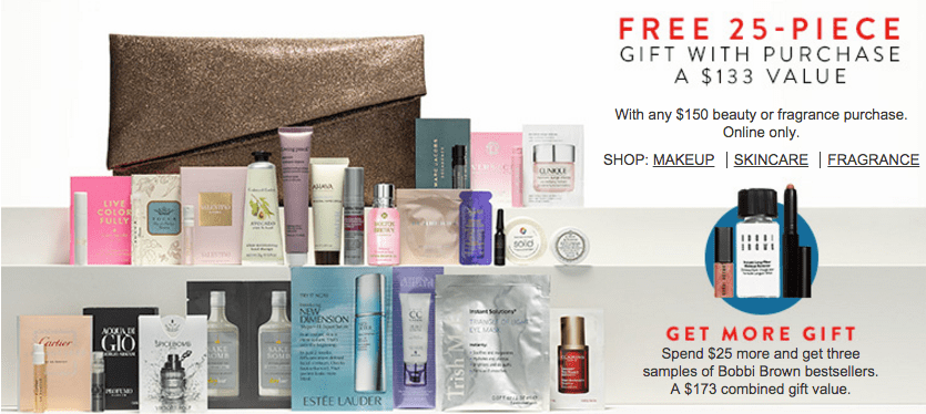 Nordstrom FREE 25 pcs beauty bag w/$150 purchase + Estee Lauder 9 ...