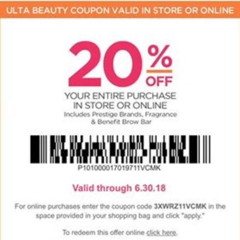 1 Ulta 20 Off Coupon Gift With Purchase