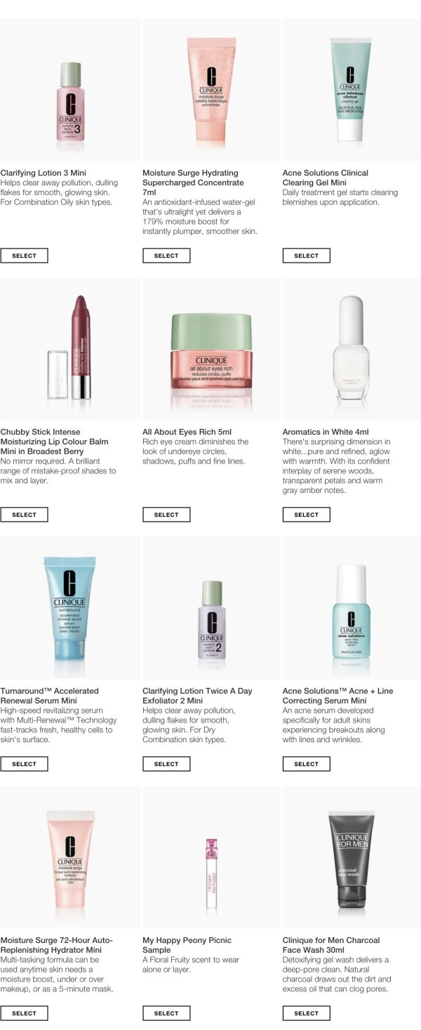 8b9aaf74ba2 Clinique: Free 6 minis with ANY purchase + free shipping with an account