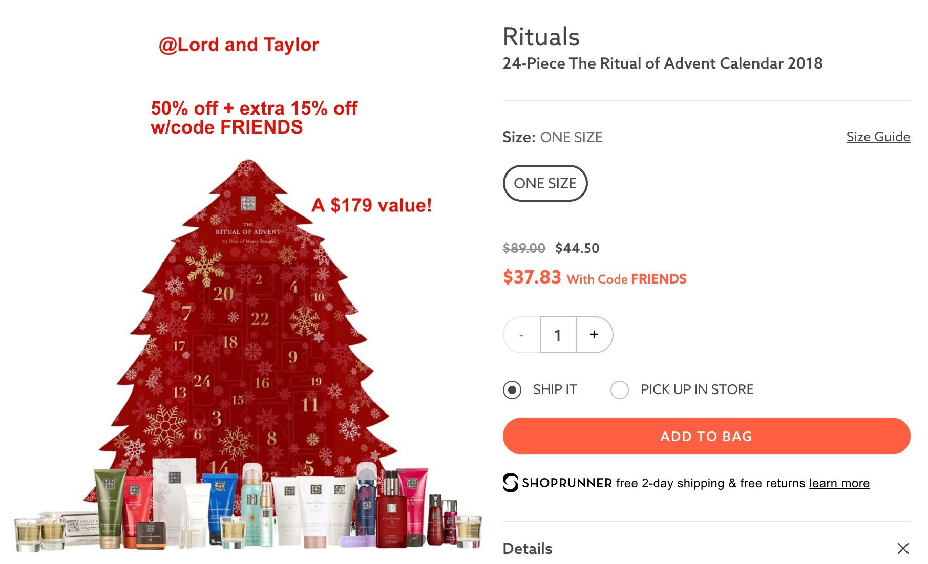 rituals adventskalender pris