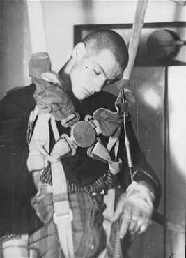 Medical experiment performed at the Dachau concentration camp to determine altitudes at which German pilots could survive. Germany, 1942.