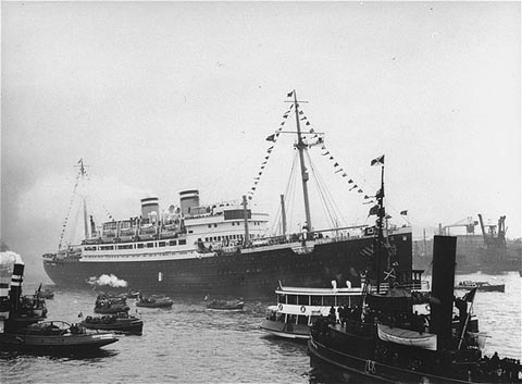 "The ""St. Louis,"" carrying more than 900 Jewish refugees, waits in the port of Havana. The Cuban government denied the passengers entry. Cuba, June 1 or 2, 1939."