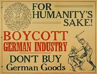 Cartel (emitido por los Veteranos de Guerra Judíos de los Estados Unidos) llamando a un boicot de los productos alemanes.  Nueva York, Estados Unidos, entre 1937 y 1939.