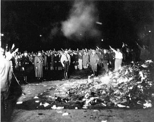 Scene during the book burning in Berlin's Opera Square. Berlin, Germany, May 10, 1933.