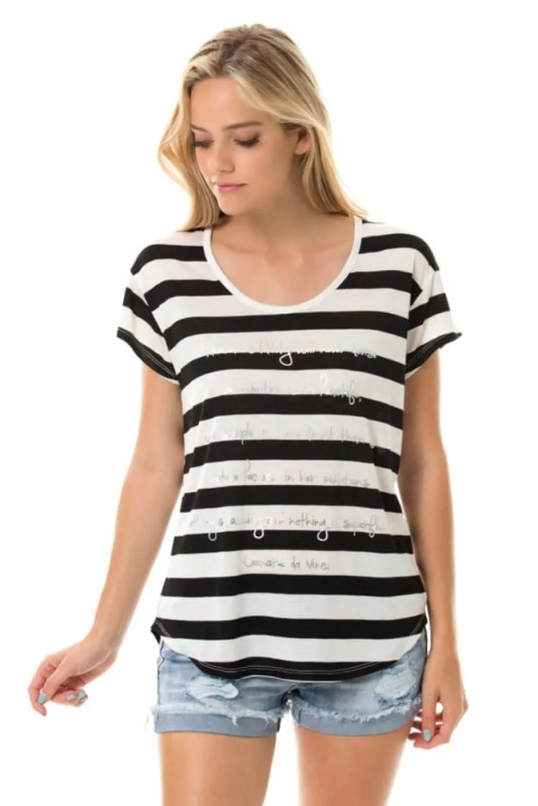 Striped Tee Womens Short Sleeve Top - UShopTwo