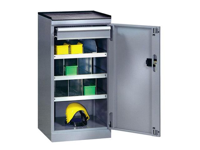 armoire de rangement atelier avec 3 tablettes et 1 tiroir