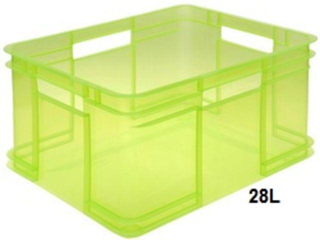 bac de rangement atelier 28 litres 240x430x350mm en plastique transparent vert okt