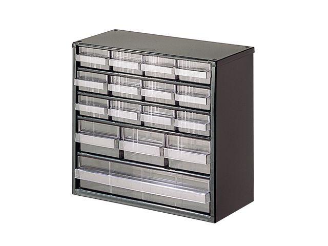 bloc rangement avec 16 tiroirs en plastique transparent de la marque setam