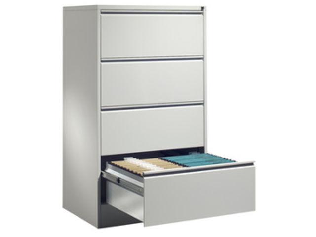 meuble bureau pour dossier suspendus 2 rails 4 tiroirs h 1350 x l 780 x p 580mm gris ral7035
