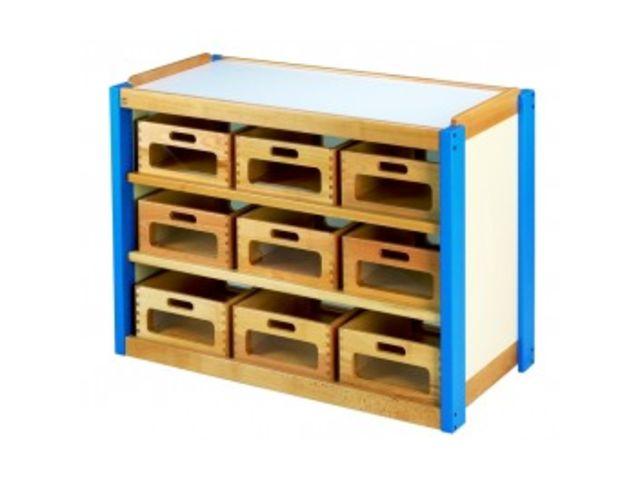 meuble casiers bois a facades transparentes