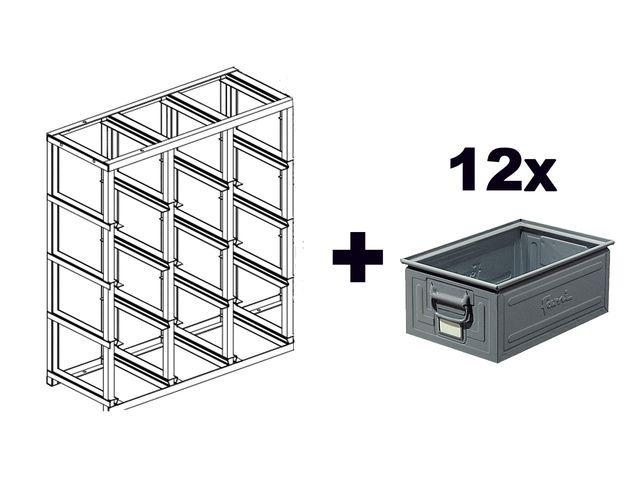 rack de rangement 12 postes avec caisses metalliques vernies 27 litres de la marque setam