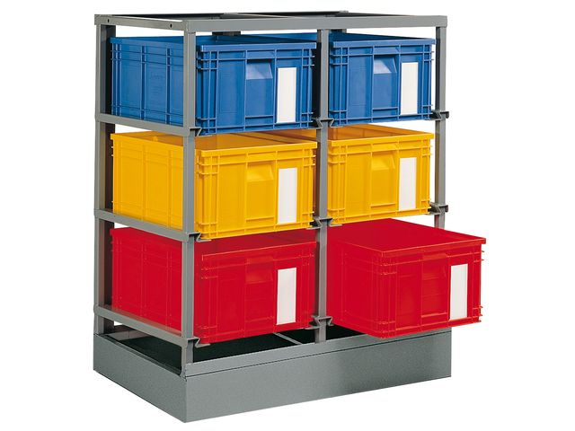 rack de rangement 6 postes avec caisses plastique 85 litres de la marque setam
