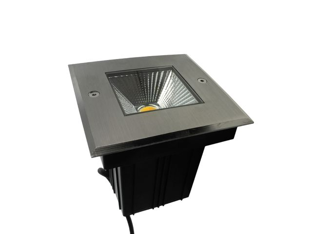 spot led encastre de sol carre inox 5w 230v qinox 130mm
