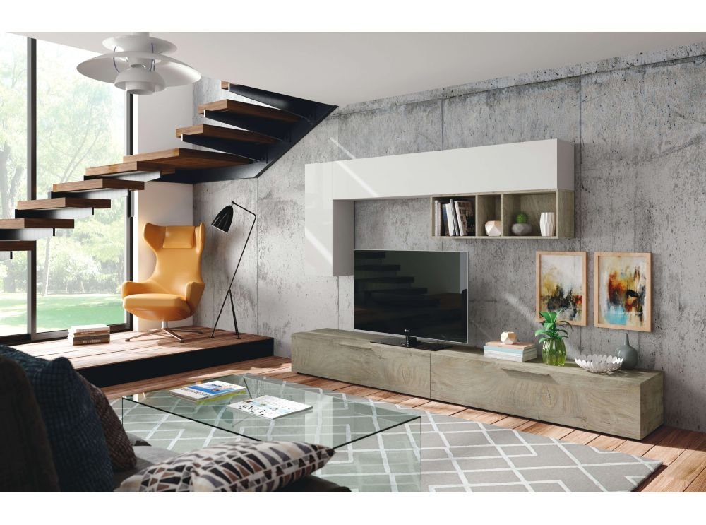 meuble tv louis 2 portes l260cm et etagere murale usinestreet fr