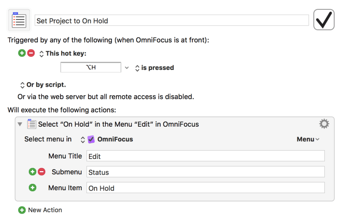 Set OmniFocus project On Hold settings for Keyboard Maestro