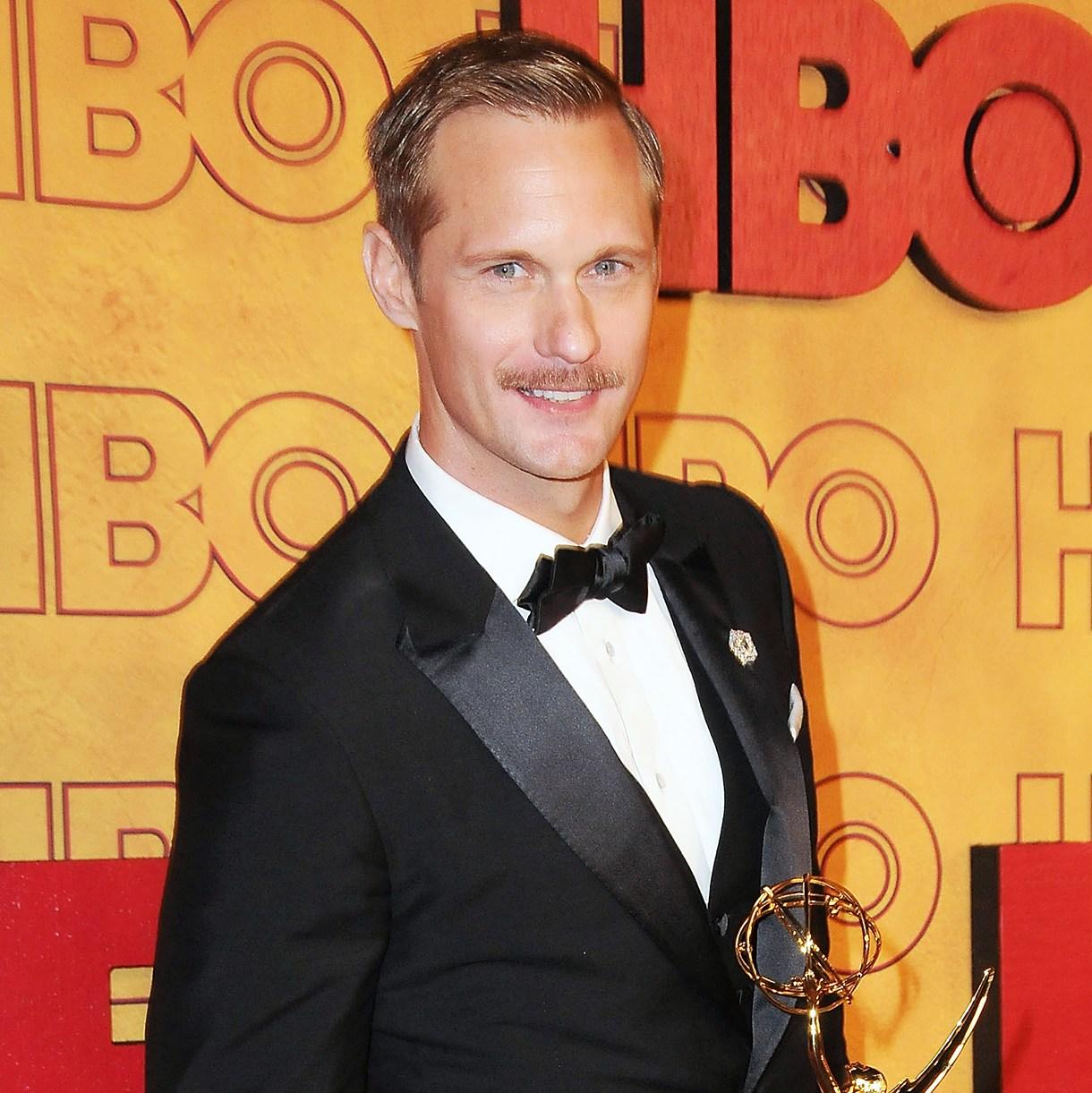 Alexander Skarsgard haircut Emmy Awards mustache
