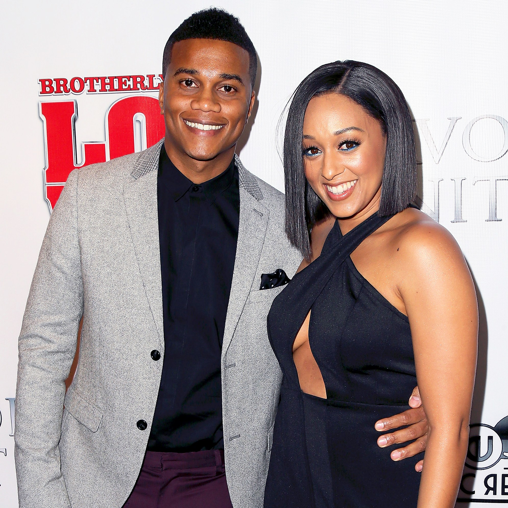 "Cory Hardrict and Tia Mowry attend the premiere of ""Brotherly Love"" at SilverScreen Theater in West Hollywood, California."