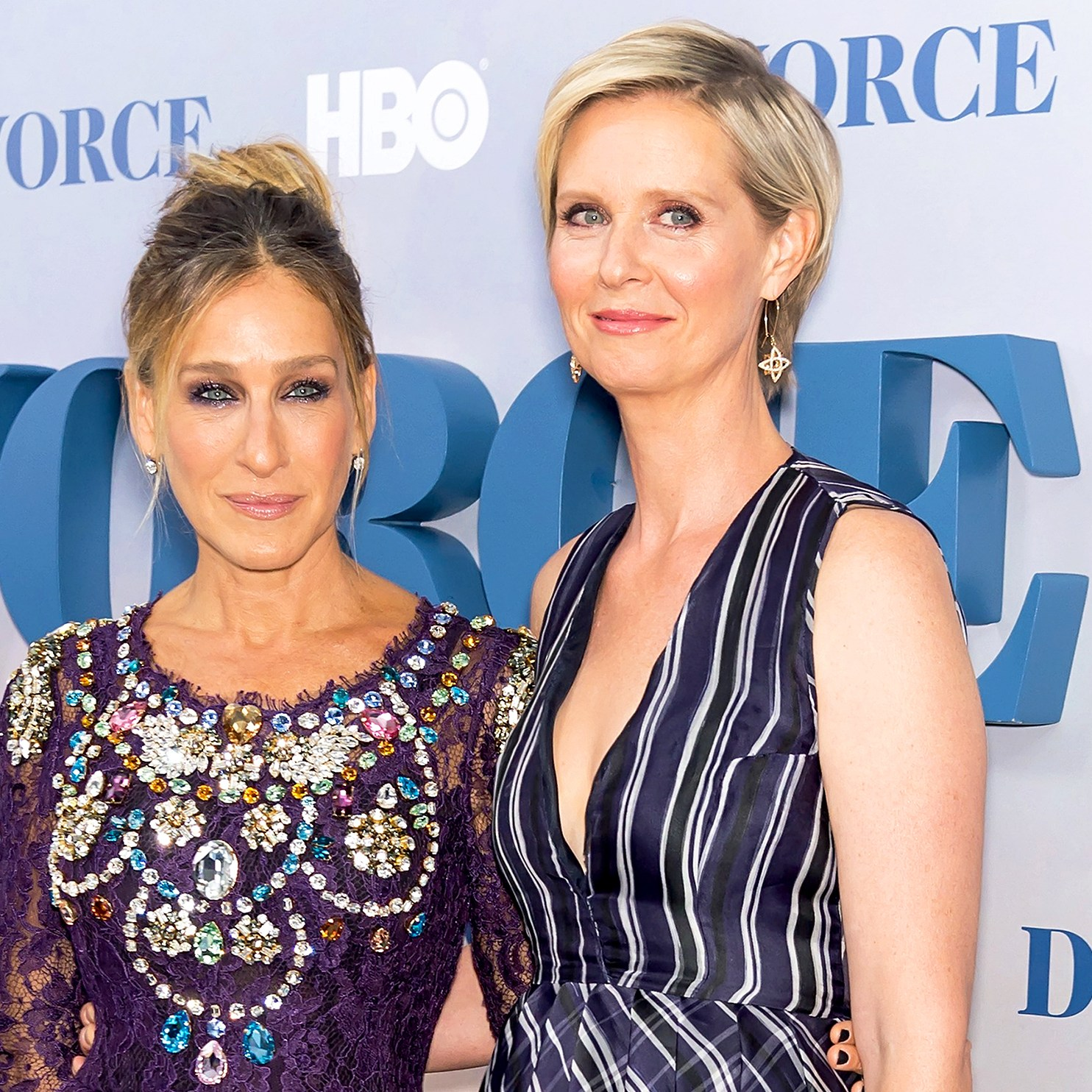 Sarah Jessica Parker and Cynthia Nixon attend the 'Divorce' New York Premiere at SVA Theater on October 4, 2016 in New York City.