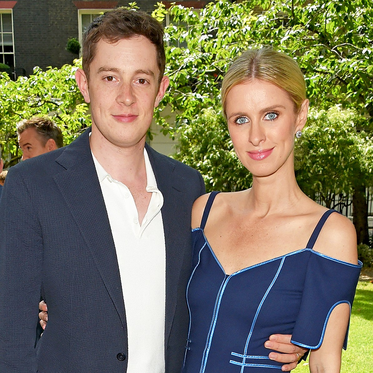 James Rothschild and Nicky Hilton attend Piers Adam and Sophie Vanacore's wedding in at St. John's Church on July 7, 2017 in London, England.