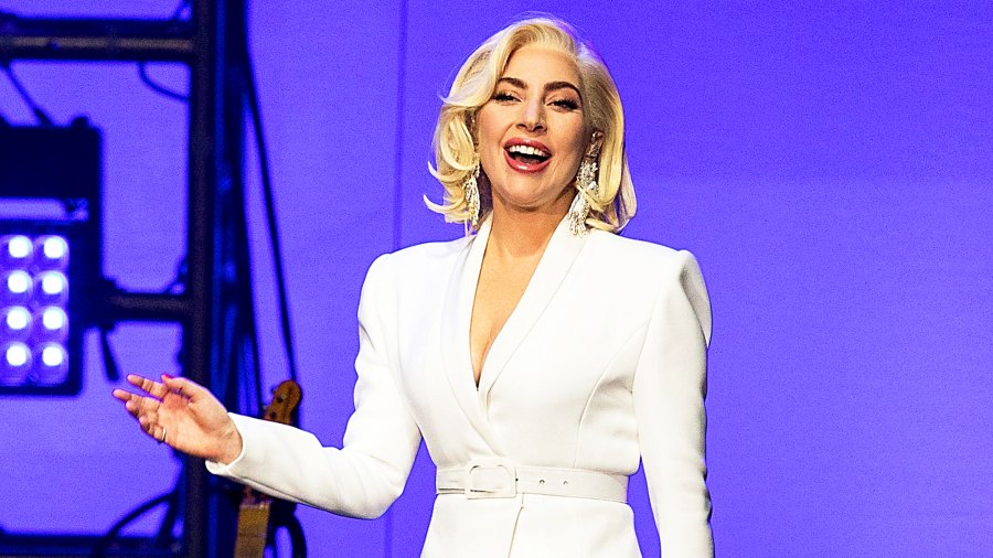 Lady Gaga performs during the 'Deep from the Heart: The One America Appeal Concert' at Reed Arena in College Station, Texas.