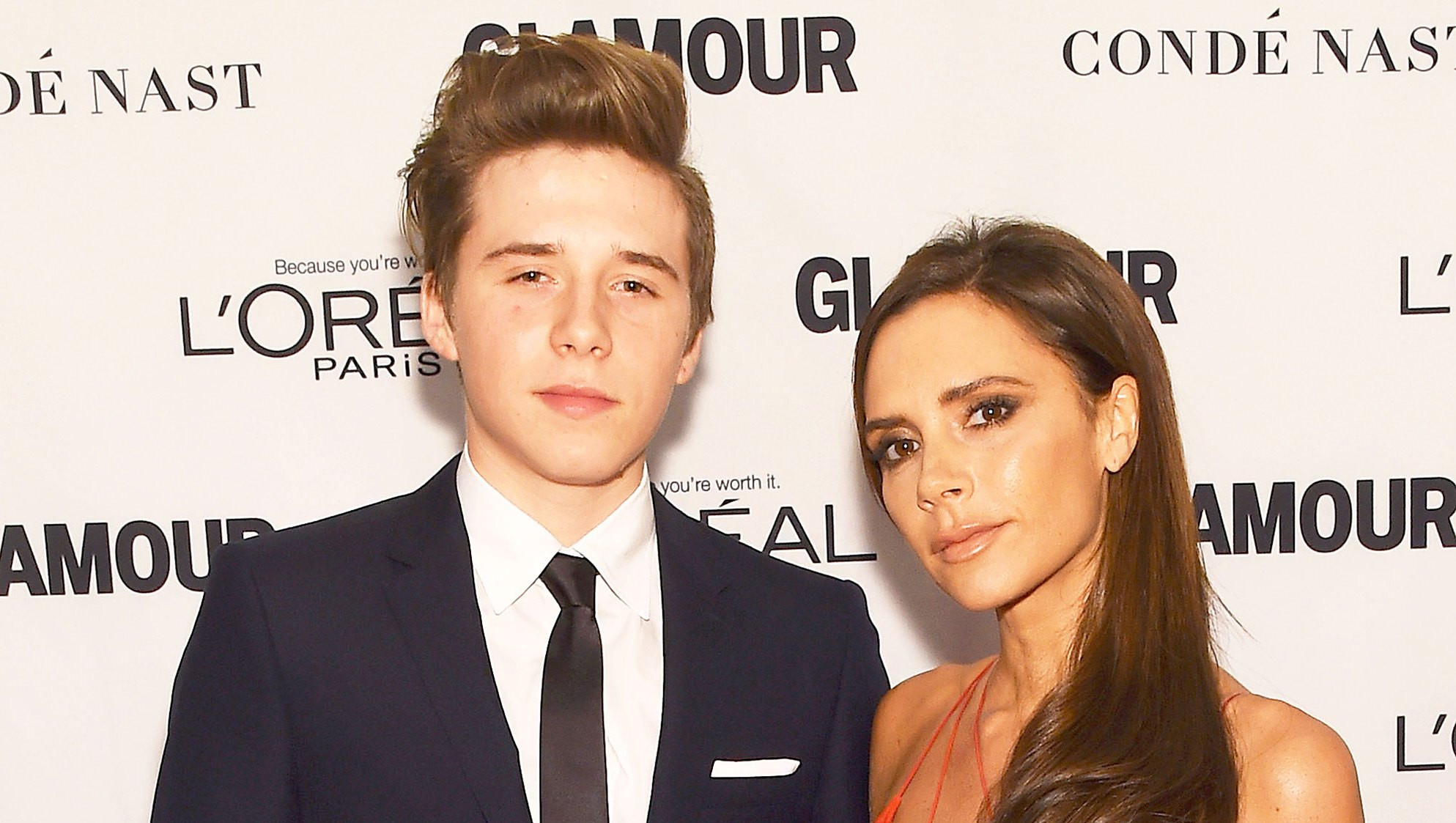 Brooklyn Beckham and Victoria Beckham attend 2015 Glamour Women Of The Year Awards at Carnegie Hall in New York City.