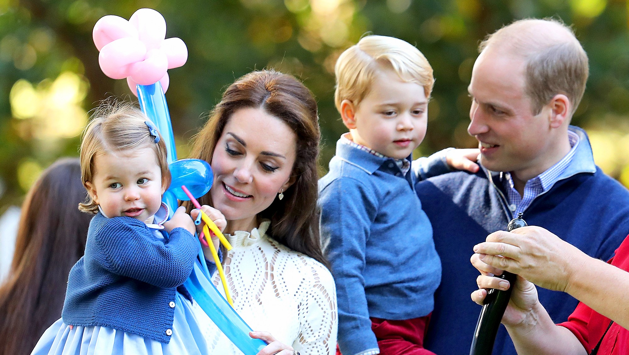 Catherine, Duchess of Cambridge, Princess Charlotte of Cambridge and Prince George of Cambridge, Prince William, Duke of Cambridge at a children's party for Military families during the Royal Tour of Canada on September 29, 2016 in Victoria, Canada.