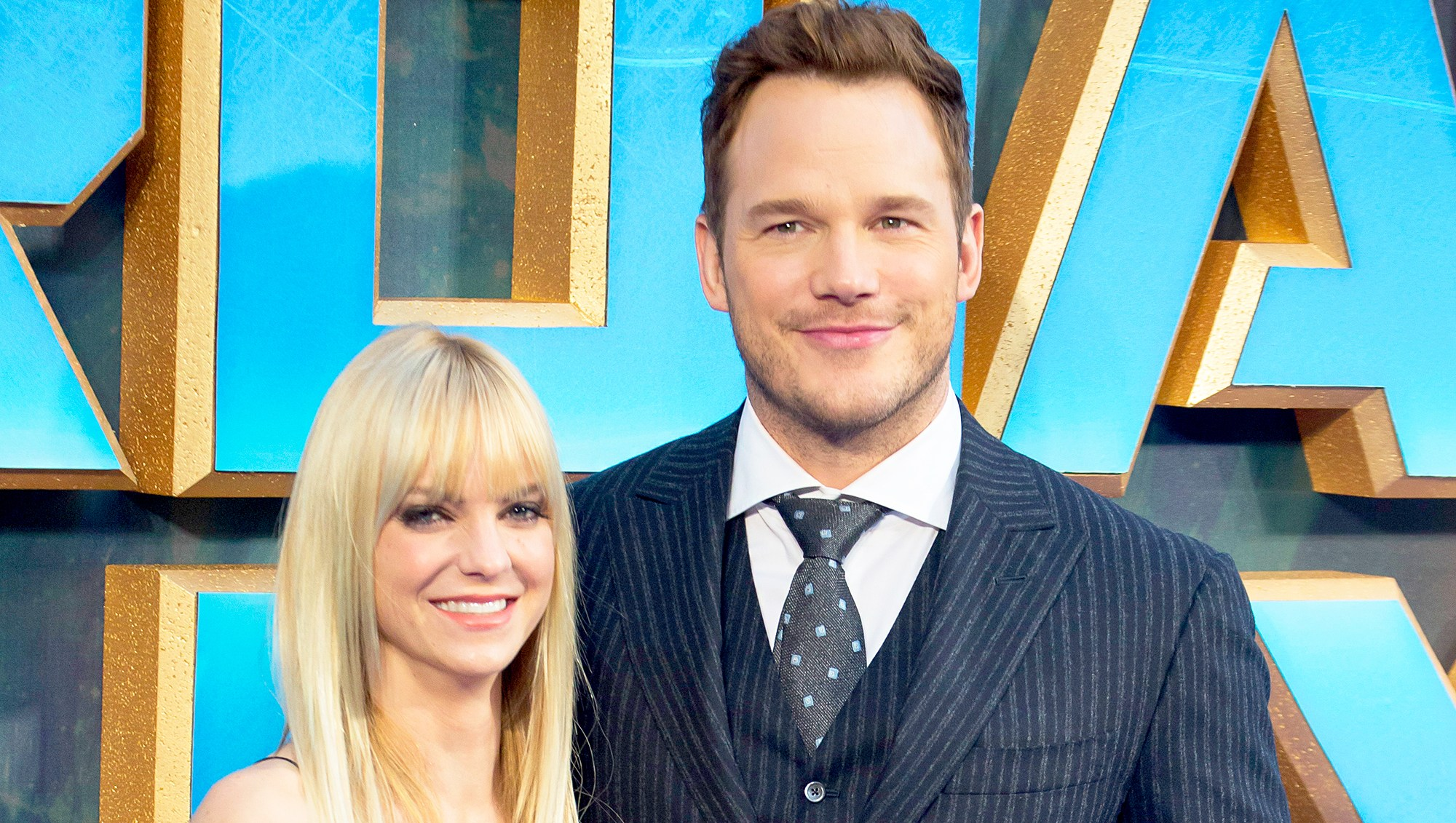 Anna Faris and Chris Pratt attend the European Gala Screening of 'Guardians of the Galaxy Vol. 2' at Eventim Apollo in London, United Kingdom.
