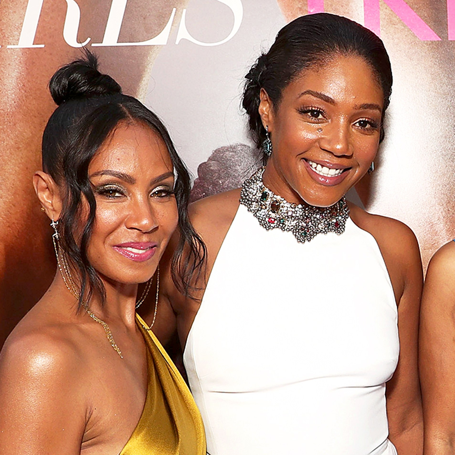 "Jada Pinkett Smith and Tiffany Haddish attend the premiere of Universal Pictures' ""Girls Trip"" at Regal LA Live Stadium 14 on July 13, 2017 in Los Angeles, California."