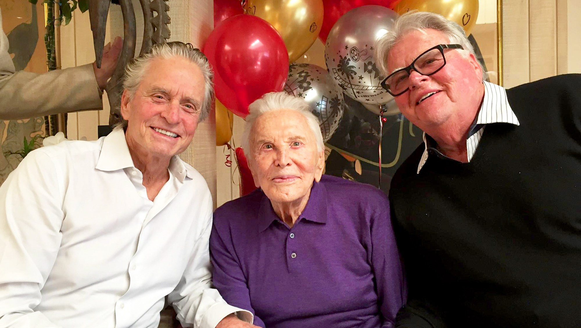 Michael Douglas and Joel Douglas with Kirk Douglas
