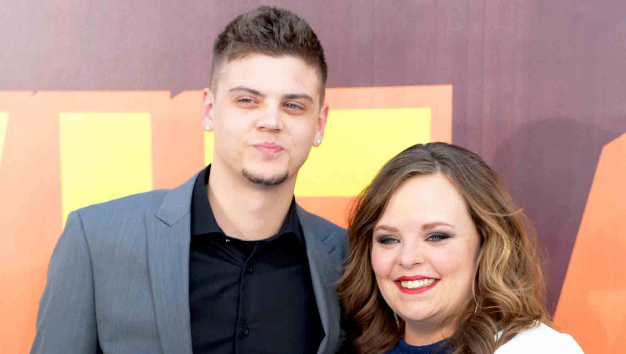 Tyler Baltierra and Catelynn Lowell attend The 2015 MTV Movie Awards at Nokia Theatre L.A. Live in Los Angeles, California.
