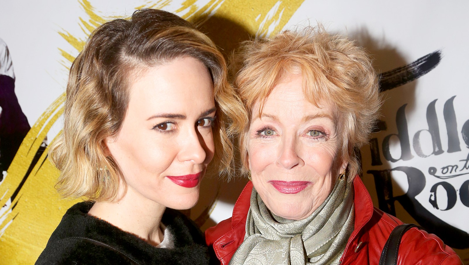 "Sarah Paulson and Holland Taylor attend the opening night for ""Fiddler On The Roof"" on Broadway at The Broadway Theatre on December 20, 2015 in New York City."