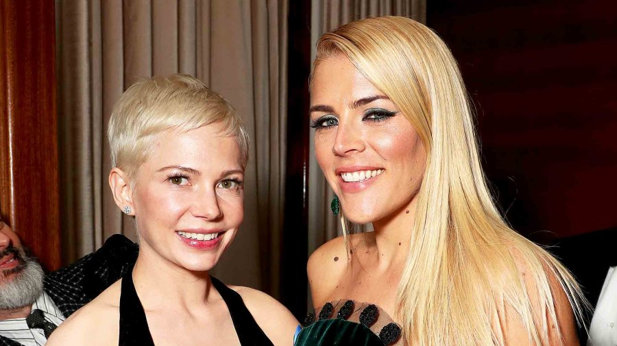 Michelle Williams and Busy Philipps attend the Amazon Studios Oscar Celebration at Delilah on February 26, 2017 in West Hollywood, California.