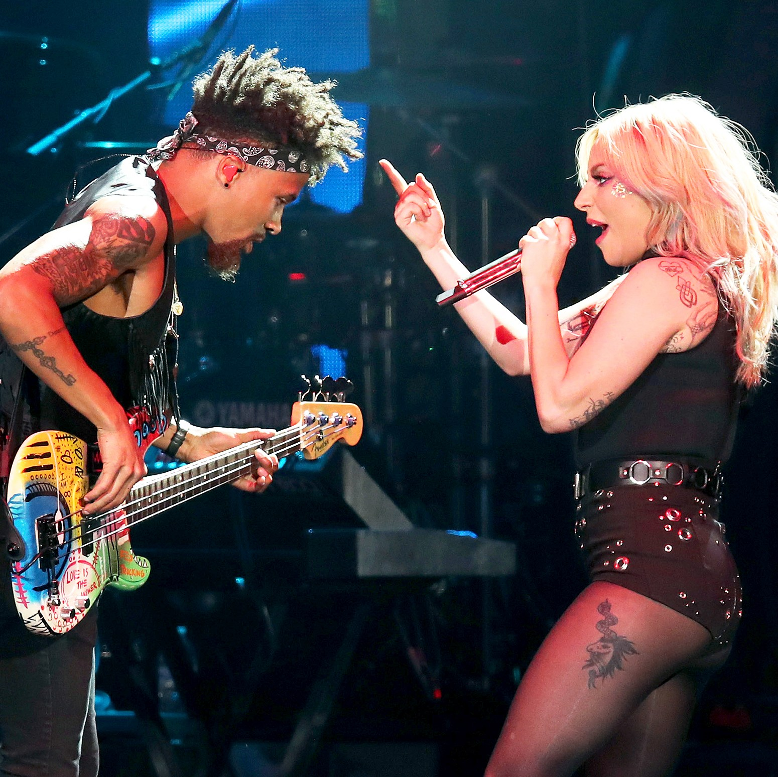 Jonny Goood and Lady Gaga performs during the 2017 Coachella Valley Music & Arts Festival at the Empire Polo Club in Indio, California.