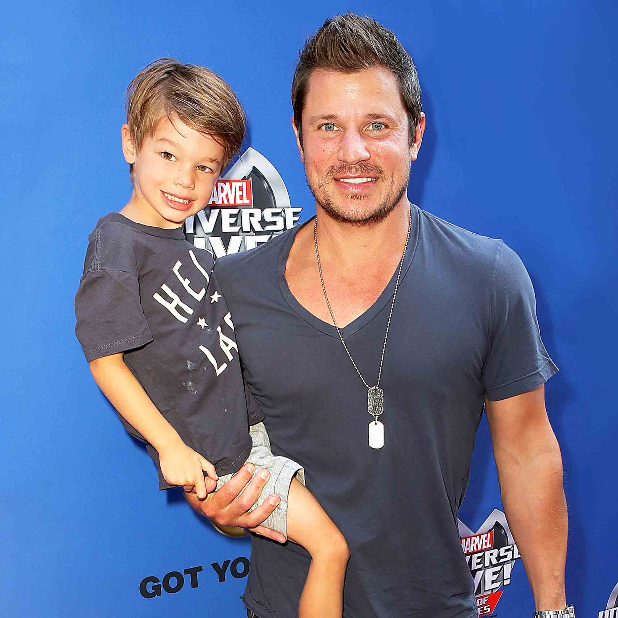 Nick Lachey and son Camden arrive at Marvel Universe LIVE! Age Of Heroes World Premiere Celebrity Red Carpet Event at Staples Center on July 8, 2017 in Los Angeles, California.