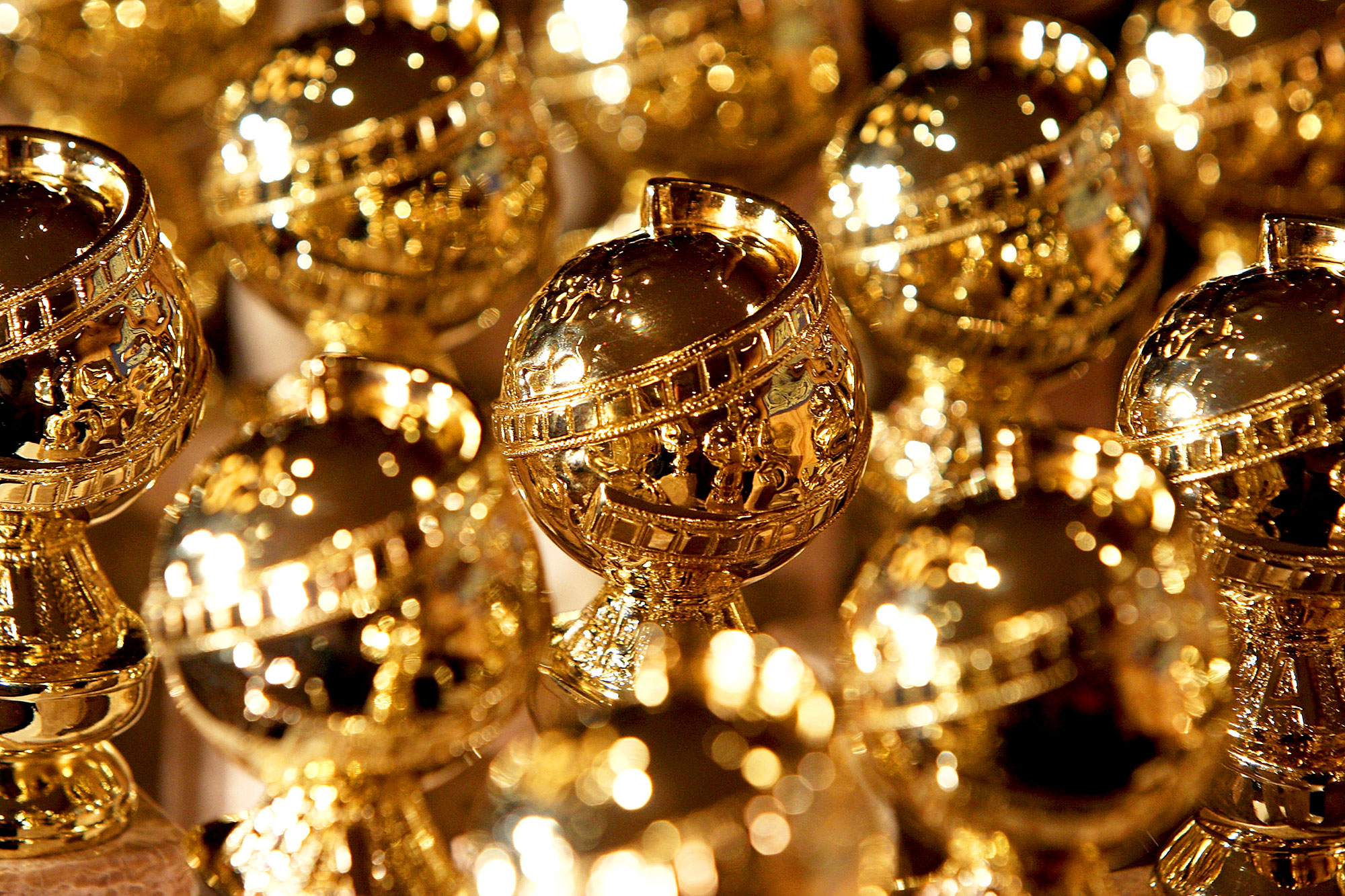 Golden Globe statuettes during an phenomenon by the Hollywood Foreign Press Association at the Beverly Hilton Hotel in Beverly Hills, California.