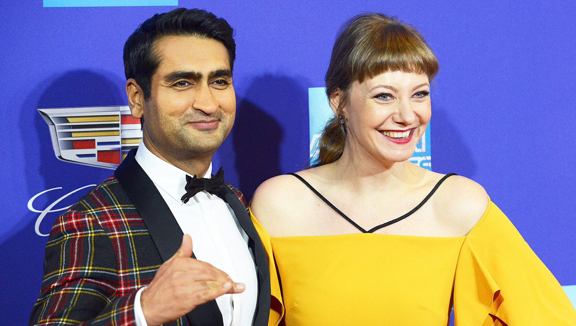 Kumail Nanjiani and Emily V. Gordon arrive for the 29th Annual Palm Springs International Film Festival Film Awards Gala held at Palm Springs Convention Center in Palm Springs, California.