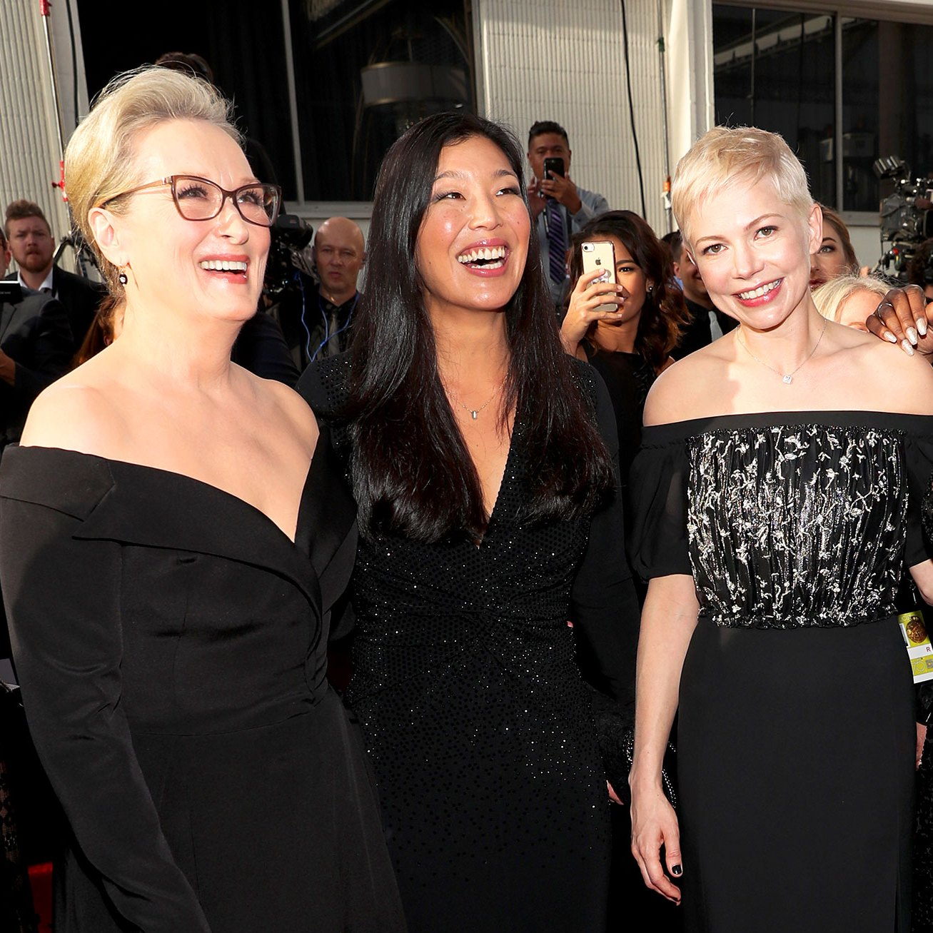 Meryl Streep, Ai-jen Poo, Michelle Williams and Tarana Burke arrive to the 75th Annual Golden Globe Awards held at the Beverly Hilton Hotel on January 7, 2018.