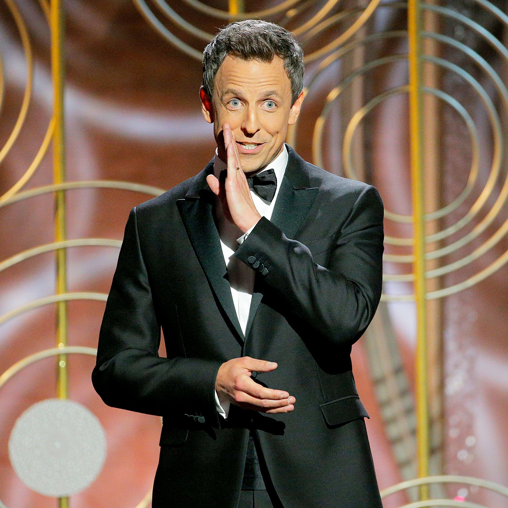 Host Seth Meyers speaks onstage during the 75th Annual Golden Globe Awards at The Beverly Hilton Hotel on January 7, 2018 in Beverly Hills, California.