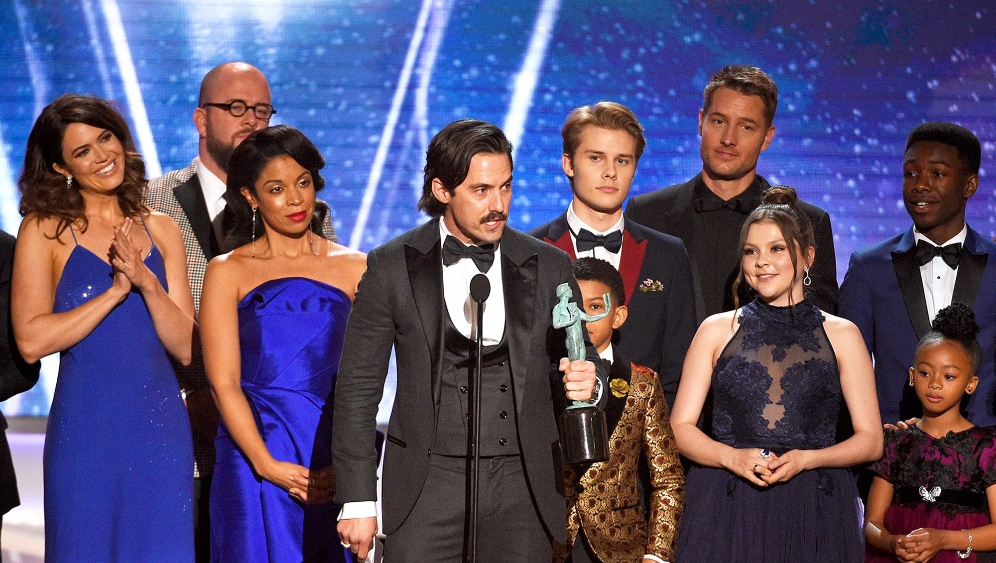 Milo Ventimiglia and 'This Is Us' cast onstage during the 24th Annual Screen Actors Guild Awards at The Shrine Auditorium on January 21, 2018 in Los Angeles, California.