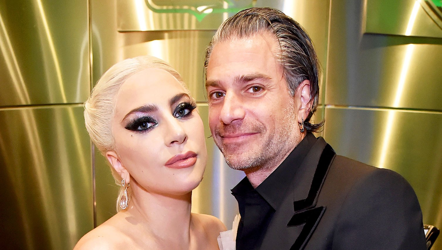 Lady Gaga and Christian Carino backstage at the 60th Annual Grammy Awards at Madison Square Garden on January 28, 2018 in New York City.