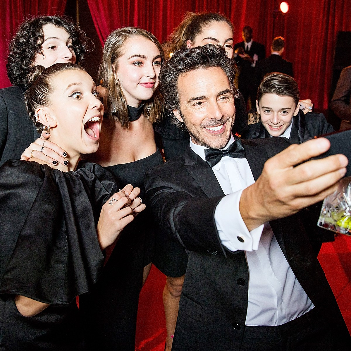 Millie Bobby Brown Finn Wolfhard Shawn Levy Noah Schnapp Netflix Golden Globes after party 2018