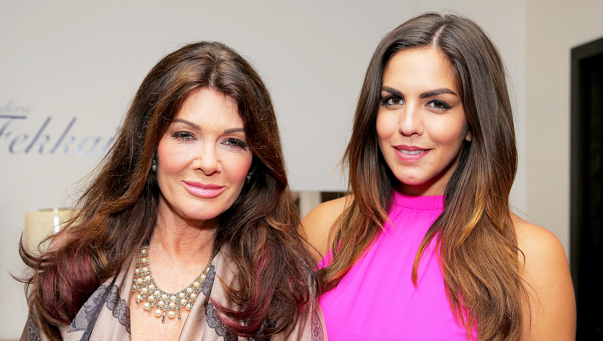 Lisa Vanderpump and Katie Maloney attend Katie Maloney's Pucker and Pout 2015 launch party at Frederic Fekkai Hair Salon in Beverly Hills, California.