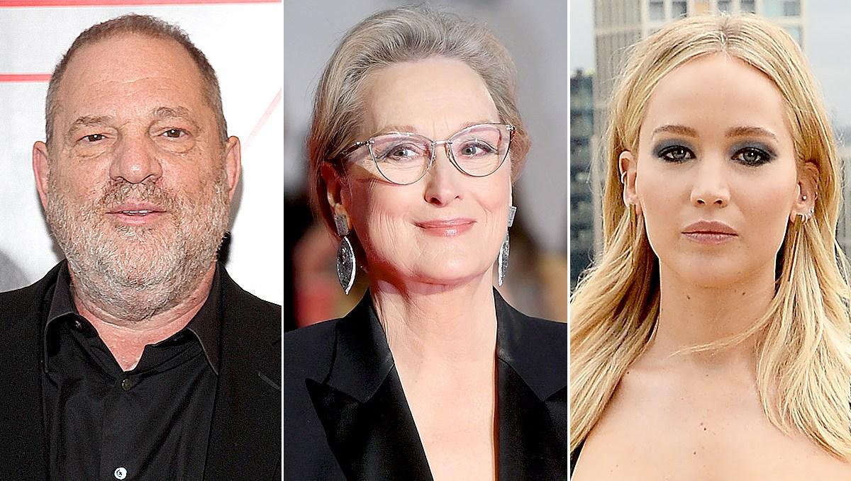Harvey Weinstein, Meryl Streep, and Jennifer Lawrence