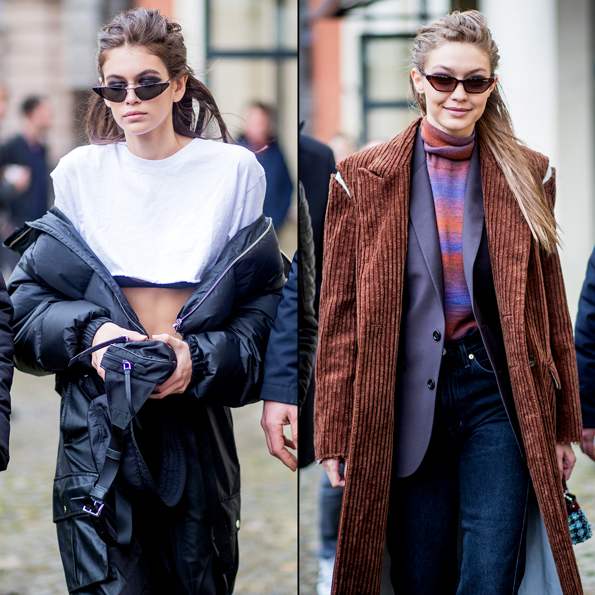 Kaia Gerber and Gigi Hadid step out during Milan Fashion Week Fall/Winter 2018/19 on February 22, 2018 in Milan, Italy.