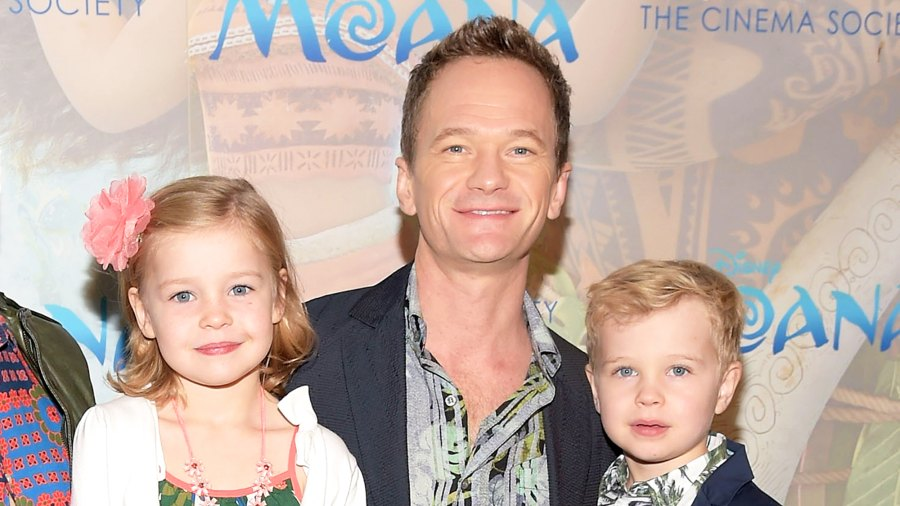 """Neil Patrick Harris with daughter Harper and son Gideon attend the 2016 Cinema Society Screening Of """"Moana"""" at Metrograph in New York City."""