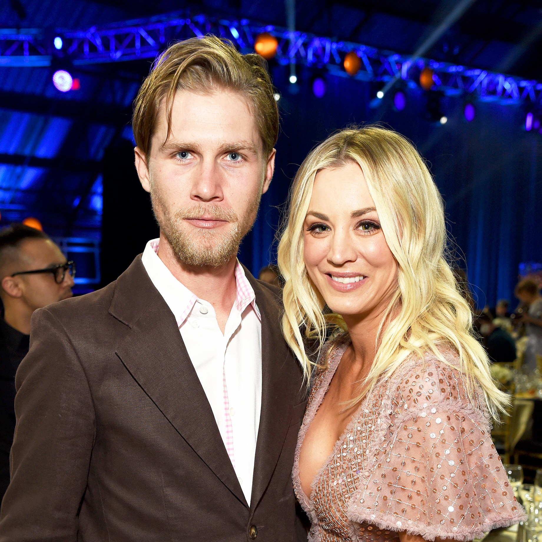 Kaley Cuoco and Karl Cook attend Moet & Chandon celebrate The 23rd Annual Critics' Choice Awards at Barker Hangar on January 11, 2018 in Santa Monica, California.