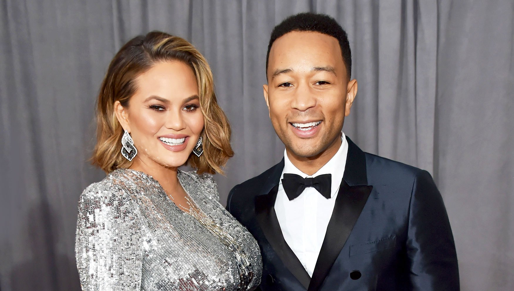 Chrissy Teigen and John Legend attend the 60th Annual Grammy Awards at Madison Square Garden in New York City.