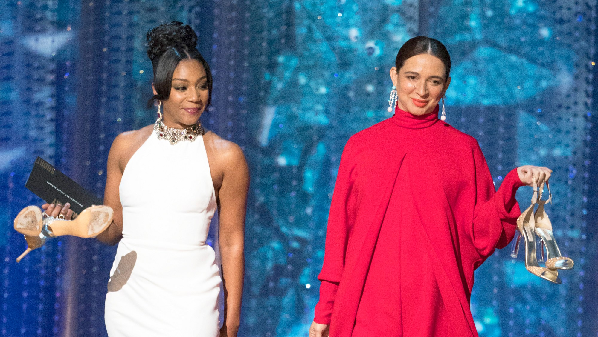 Tiffany Haddish and Maya Rudolph during the 90th Annual Academy Awards show on March 4, 2018 in Hollywood, California.